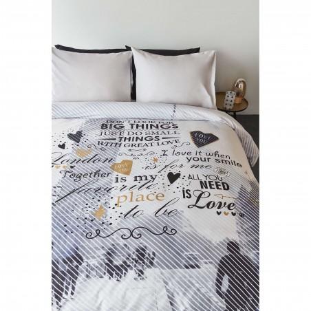 Set lenjerie de pat adolescenti cu 1 fata de perna cu text Big Things pe fond alb