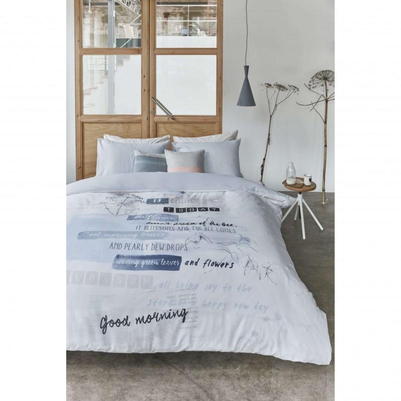 Set lenjerie de pat cu 2 fete de perna imprimeu modern Blooming Day gri