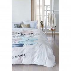 Set lenjerie de pat cu 2 fete de perna imprimeu modern Blooming Day pastel