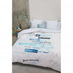 Set lenjerie de pat cu 2 fete de perna imprimeu modern Blooming Day albastru