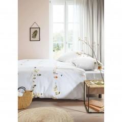 Set lenjerie de pat cu 2 fete de perna bumbac Chit Chat cu flori si pasari colorate pe fond alb