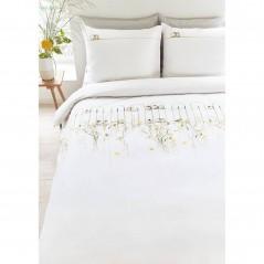 Set lenjerie de pat cu 2 fete de perna bumbac Garden Fence cu flori si pasari pe gardul din gradina