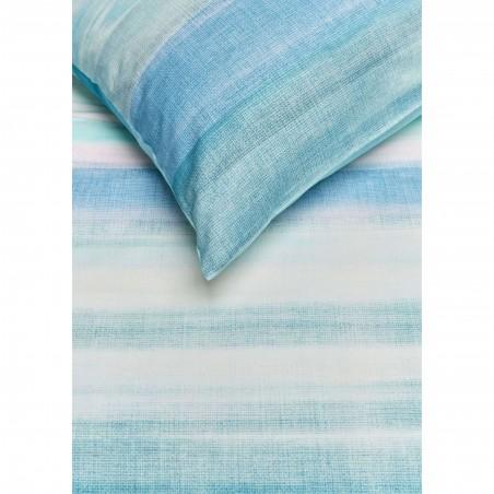 Set lenjerie de pat cu 2 fete de perna bumbac Gibson albastru turcoaz in degrade
