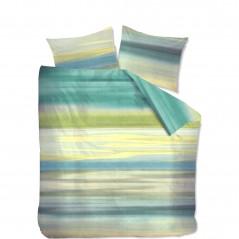 Set lenjerie de pat cu 2 fete de perna bumbac Gibson albastru verde cu galben