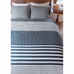 Set lenjerie de pat eleganta cu 2 fete de perna bumbac Hilton cu dungi albe si albastre