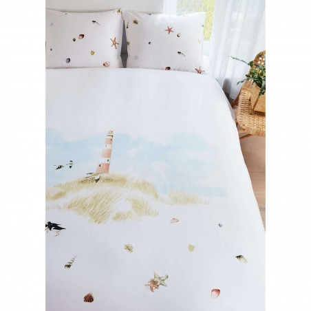 Set lenjerie de pat cu 2 fete de perna bumbac Lighthouse cu peisaj marin pe fond alb