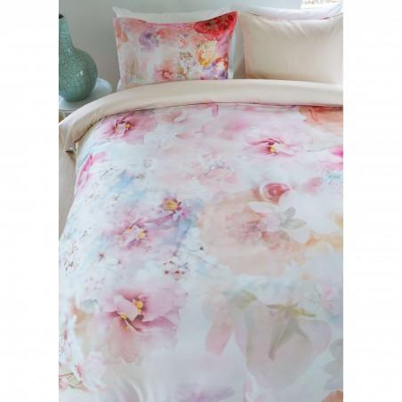Set lenjerie de pat cu 2 fete de perna bumbac satinat Lush Garden cu flori elegante