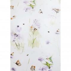 Set lenjerie de pat cu 2 fete de perna bumbac Nectar cu fluturi si pasari pe fond alb