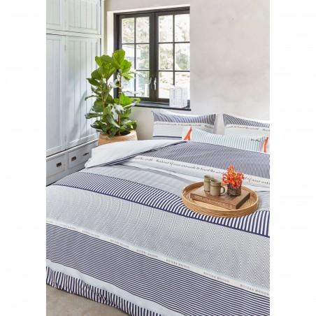 Set lenjerie de pat cu 2 fete de perna bumbac State Travel cu dungi albe si albastre