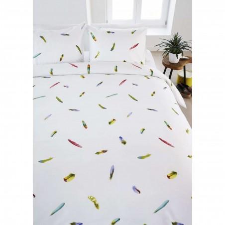 Set lenjerie de pat cu 2 fete de perna bumbac Tropische Veren cu pene colorate pe fond alb