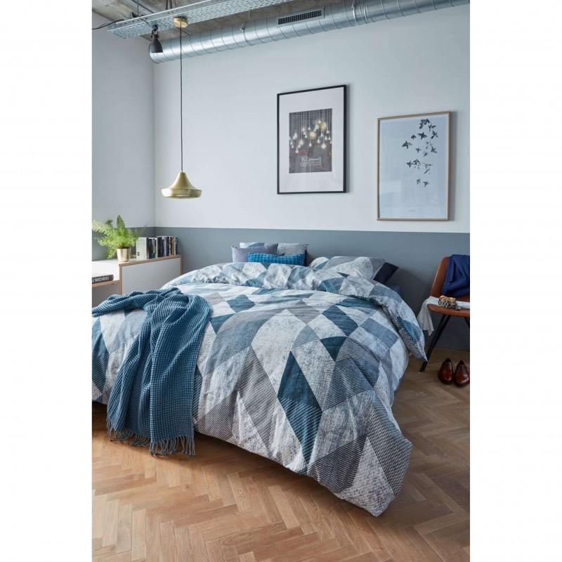 Set lenjerie de pat cu 2 fete de perna bumbac cu model geometric Tuur gri cu albastru