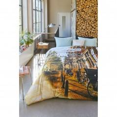 Set lenjerie de pat cu 2 fete de perna bumbac Wanderlust model imprimat multicolor
