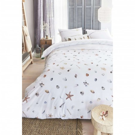 Set lenjerie de pat cu 2 fete de perna bumbac Zeester cu scoici si stelute de mare pe fond alb