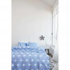 Set lenjerie de pat cu 2 fete de perna bumbac Starry Sky cu stelute albe pe fond albastru