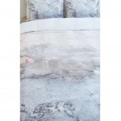 Set lenjerie de pat cu 2 fete de perna bumbac Sense model abstract bej cu gri