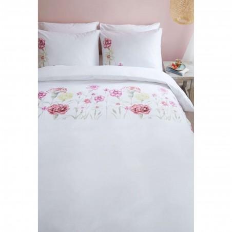 Set lenjerie de pat cu 2 fete de perna bumbac Romantic Field cu garoafe colorate pe fond alb