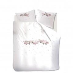 Set lenjerie de pat cu 2 fete de perne bumbac Bloesemtak cu flori roz si pasari pe fond alb