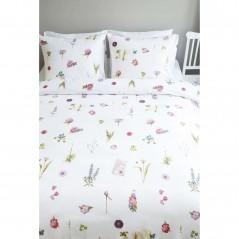 Set lenjerie de pat cu 2 fete de perna bumbac Botanicus cu flori colorate pe fond alb