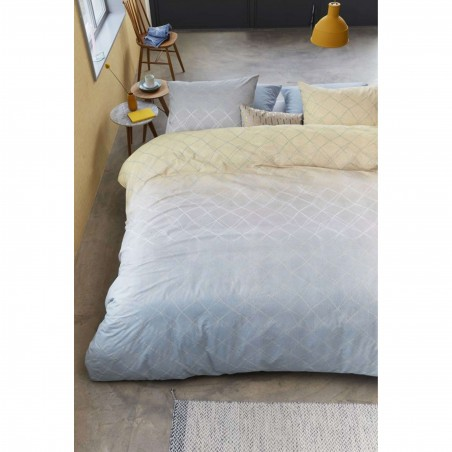 Set lenjerie de pat cu 2 fete de perna bumbac Carrera cu design modern gri cu galben