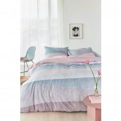 Set lenjerie de pat cu 2 fete de perna bumbac Cascadas bleu cu design modern
