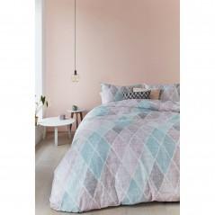 Set lenjerie de pat cu 2 fete de perna Castillo cu model geometric pastel