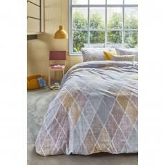 Set lenjerie de pat cu 2 fete de perna Castillo cu model geometric galben mustar cu gri