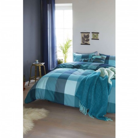 Set lenjerie pat cu 2 fete de perna bumbac Clarck cu patrate albastru verde