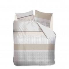 Set lenjerie de pat cu 2 fete de perna bumbac Aaron nisipiu cu design modern