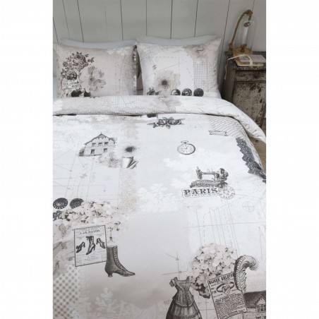 Set lenjerie de pat cu 2 fete de perna Atique nisipiu cu imprimeu retro