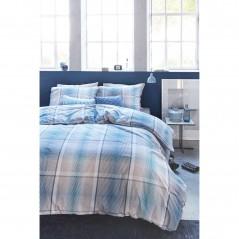 Set lenjerie de pat cu 2 fete de perna Baker cu design modern albastru cu gri