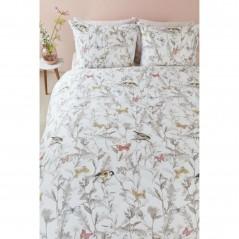 Set lenjerie de pat cu 2 fete de perna bumbac Corsica pastel cu crengute, pasari si fluturi