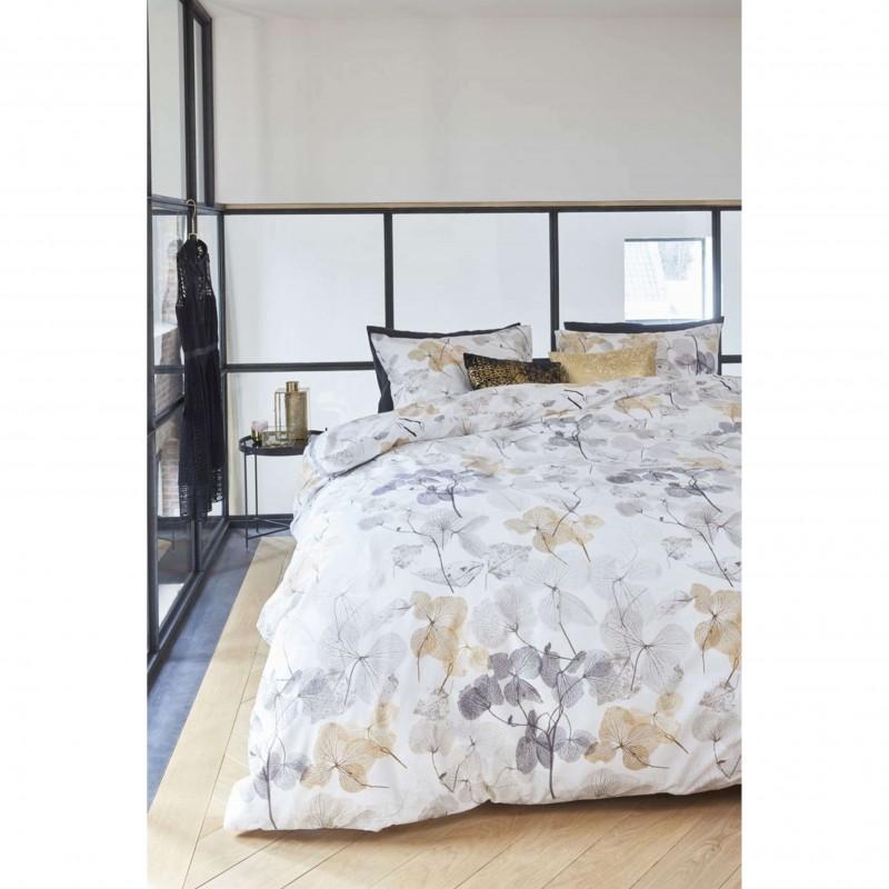 Set lenjerie de pat cu 2 fete de perna bumbac Deltane auriu cu tematica florala