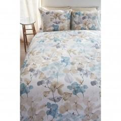 Set lenjerie de pat cu 2 fete de perna bumbac Deltane turcoaz cu tematica florala