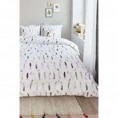 Set lenjerie de pat cu 2 fete de perna bumbac Favourite Feathers cu pene multicolore pe fond alb