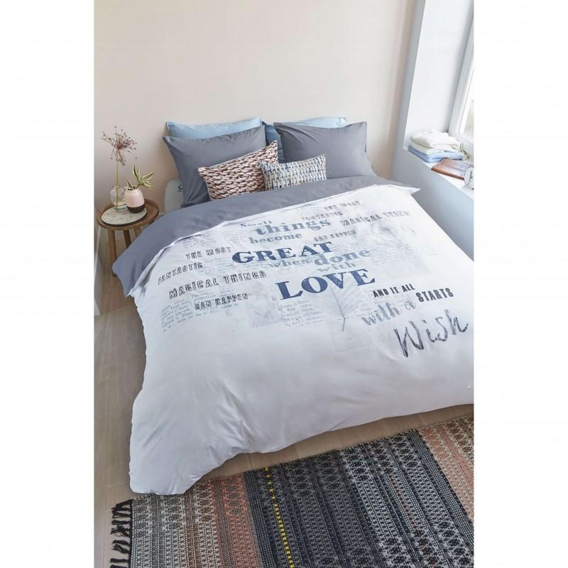 Set lenjerie de pat cu 2 fete de perna bumbac Magical albastru cu design modern si text scris