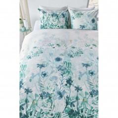 Set lenjerie de pat cu 2 fete de perna bumbac Madeira verde deschis cu design floral
