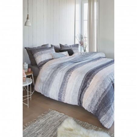 Set lenjerie de pat cu 2 fete de perna Manley pastel cu dungi moderne