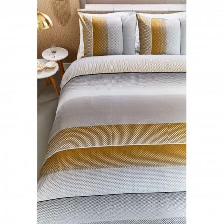 Set lenjerie de pat cu 2 fete de perna bumbac Lenox nisipiu cu model geometric