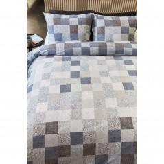 Set lenjerie de pat cu 2 fete de perna Juneau pastel cu design modern cu patratele