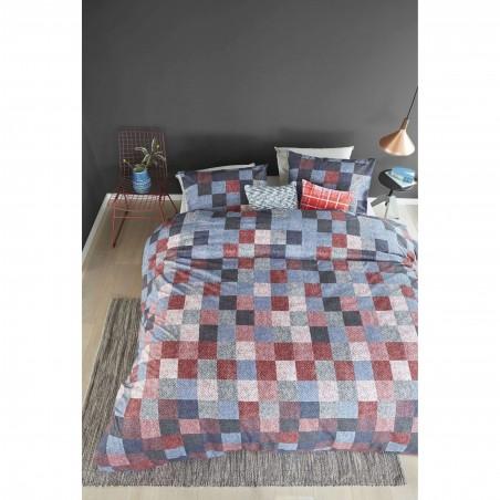 Set lenjerie de pat cu 2 fete de perna Juneau albastru cu design modern cu patratele