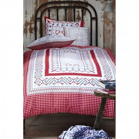 Set lenjerie de pat cu 1 fata de perna Bow Cozz cu model traditional  rosu cu alb