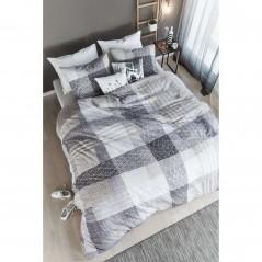 Set lenjerie de pat cu 2 fete de perna bumbac Kemps Bay cu design gri si bej