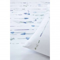 Set lenjerie de pat cu 2 fete de perna bumbac Lavandula cu floricele albastre pe fond alb