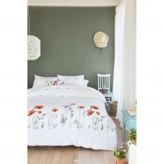 Set lenjerie de pat cu 2 fete de perna bumbac Korenroos rosu cu maci pe fond alb
