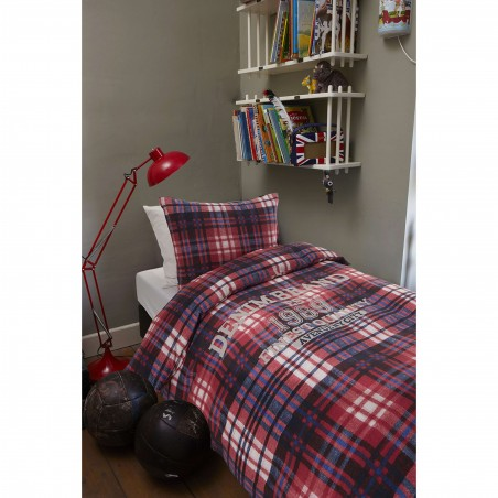 Set lenjerie de pat cu 1 fata de perna bumbac Wake Up cu carouri rosu cu albastru