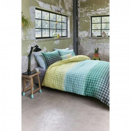 Set lenjerie de pat cu 2 fete de perna bumbac Guana cu design in carouri verzi