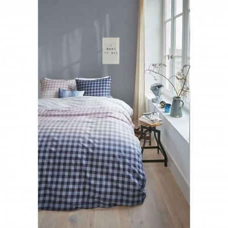 Set lenjerie de pat cu 2 fete de perna bumbac Guana cu design in carouri gri
