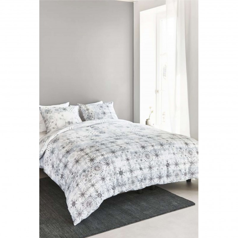 Set lenjerie de pat cu 2 fete de perna Holmesfield stelute gri antracit pe fond alb
