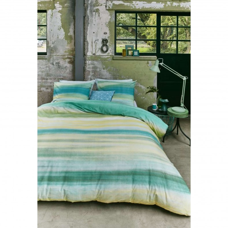 Set lenjerie de pat cu 2 fete de perna bumbac Gibson albastru cu verde si galben