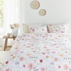 Set lenjerie de pat cu 2 fete de perna bumbac Flower Show cu fluturi si flori roz